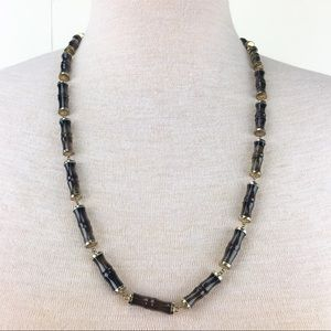 Vintage Jewelry - Vintage Glass Bamboo Bead Necklace